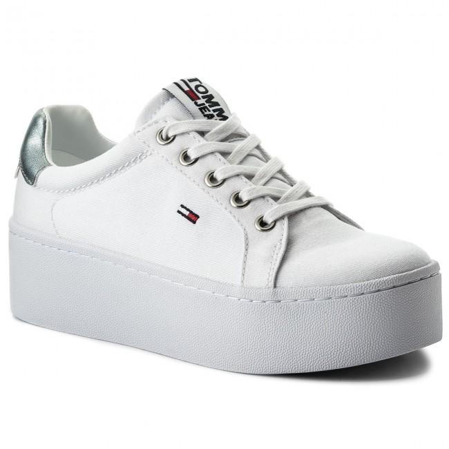 4ab943b22 Sneakers TOMMY JEANS - Flatform Sneaker EN0EN00237 White 100 ...