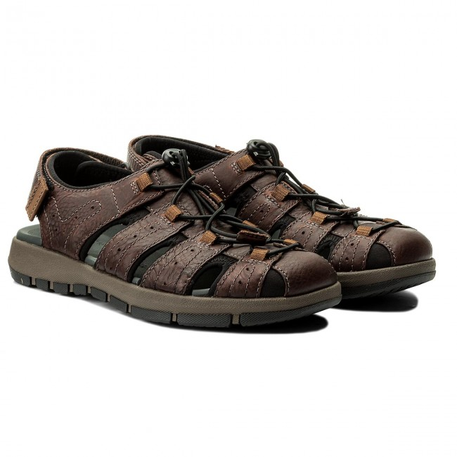 Sandals CLARKS Brixby Cove 261315217 Dark Brown Leather