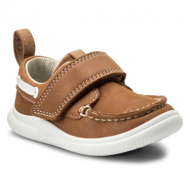 Shoes CLARKS - Cloud Snap - 261316876 Tan Leather - Velcro - Low shoes - Snap Boy - Kids' shoes c968d2