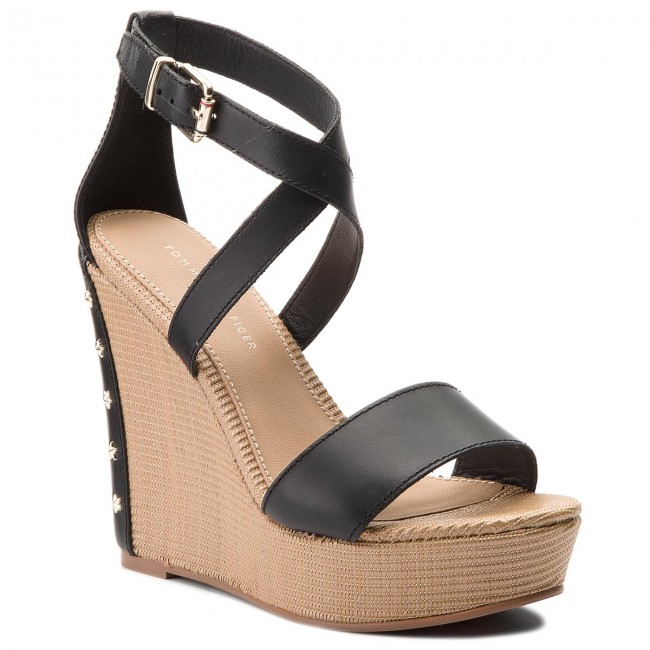 90b65d162 Sandals TOMMY HILFIGER. Feminine Wedge Sandal Stars Studs FW0FW02236 Black  990