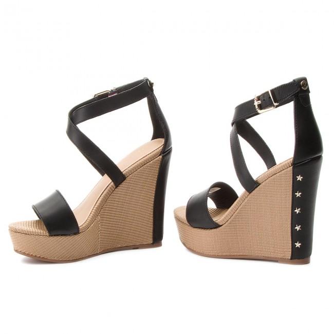 Sandals TOMMY HILFIGER - Feminine Wedge Sandal Stars Studs FW0FW02236 Black  990 fd838aa20ad