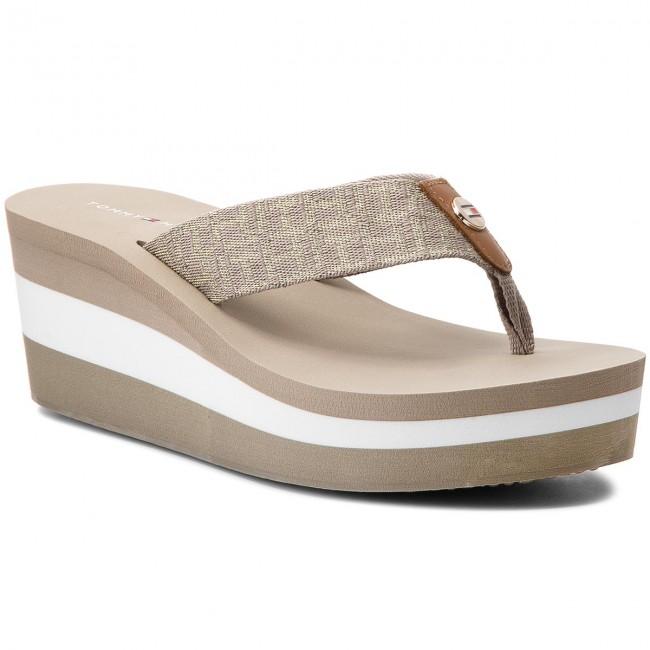 Slides TOMMY HILFIGER - Metallic Mid Beach Sandal FW0FW02363 Cobblestone 068