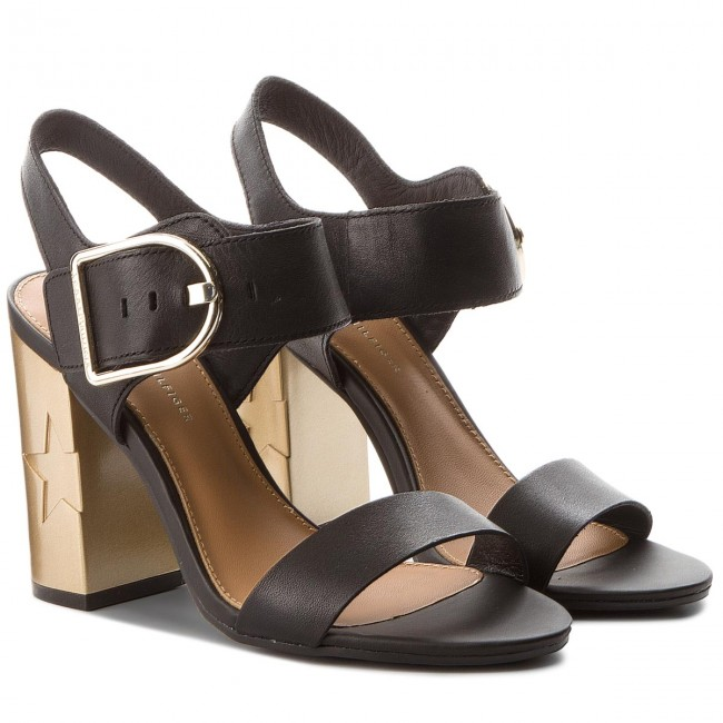 9668be8d7ffafa Sandals TOMMY HILFIGER - Feminine Heel Oversized Buckle FW0FW02578 Black 990  - Casual sandals - Sandals - Mules and sandals - Women s shoes -  www.efootwear. ...