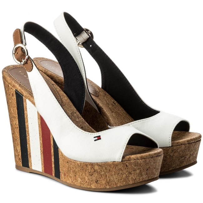 414a5ca17 Sandals TOMMY HILFIGER - Wedge With Printed Stripes FW0FW02794 Wisper Wite  121 - Wedges - Mules and sandals - Women s shoes - www.efootwear.eu