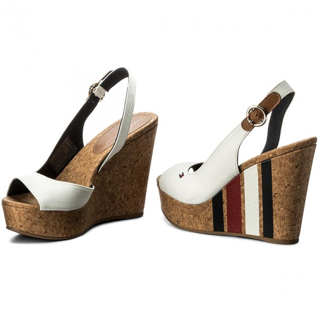 f4c244fc99ce Sandals TOMMY HILFIGER - Wedge With Printed Stripes FW0FW02794 Wisper Wite  121