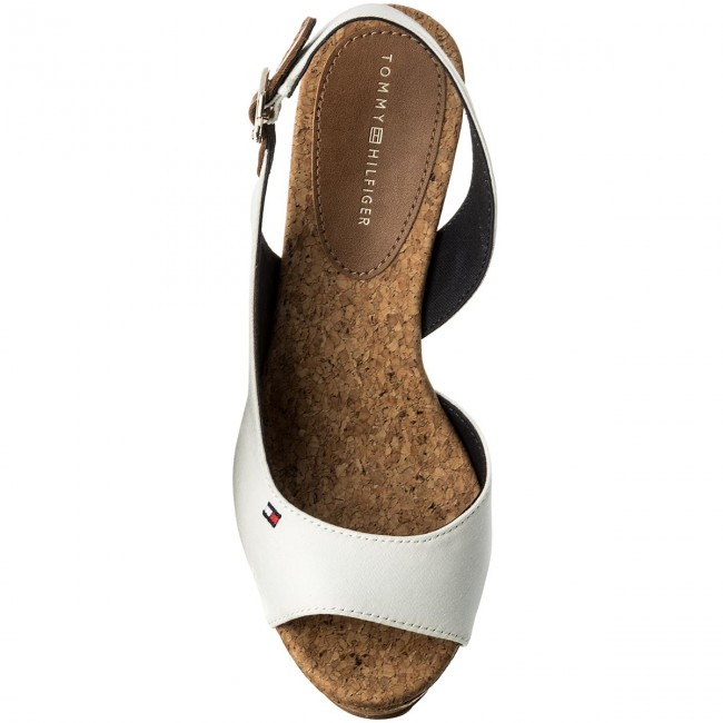 171863c5a92e Sandals TOMMY HILFIGER - Wedge With Printed Stripes FW0FW02794 Wisper Wite  121 - Wedges - Mules and sandals - Women s shoes - www.efootwear.eu
