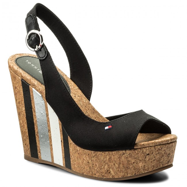 Sandals TOMMY HILFIGER - Wedge With Printed Stripes FW0FW02794 Black ... a62e9314c5e