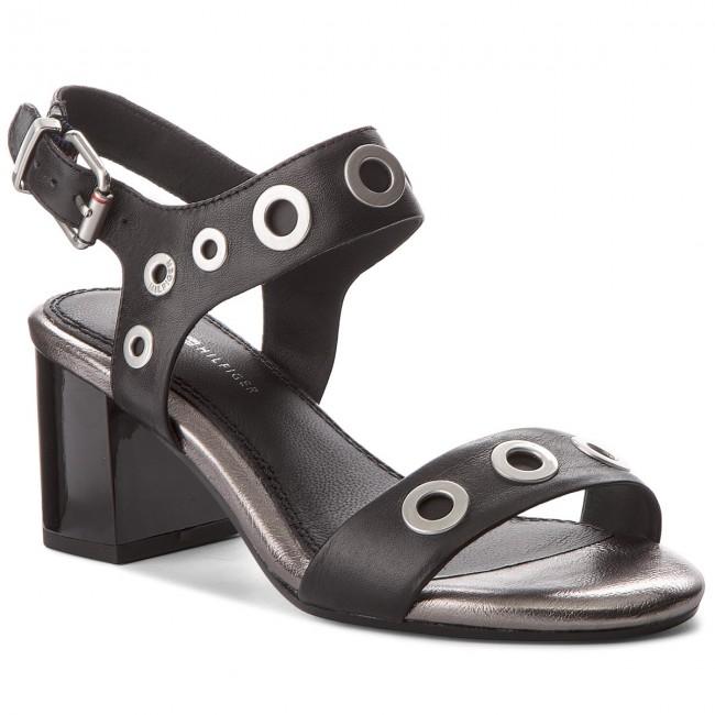 76efbf529f0f Sandals TOMMY HILFIGER. Blocky Mid Heel Metallic Eyelets FW0FW02821 Black  990
