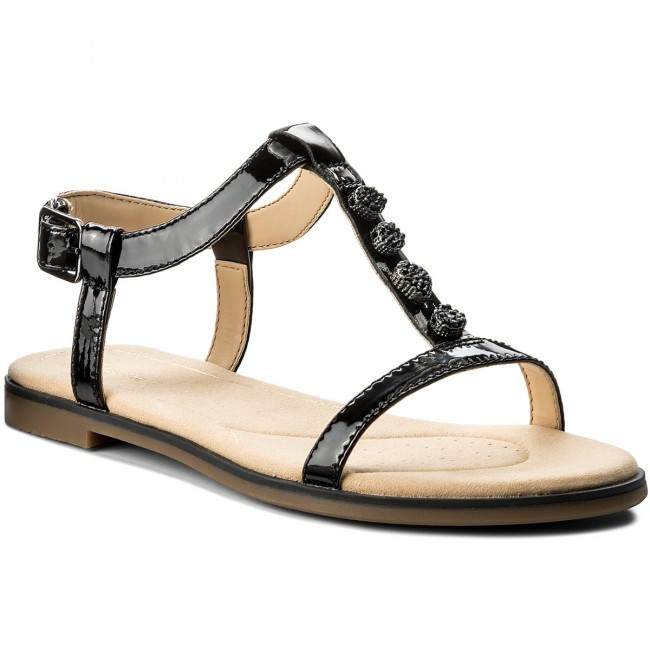 5b2ef80eb39f Sandals CLARKS - Bay Blossom 261319494 Black Patent - Casual sandals ...