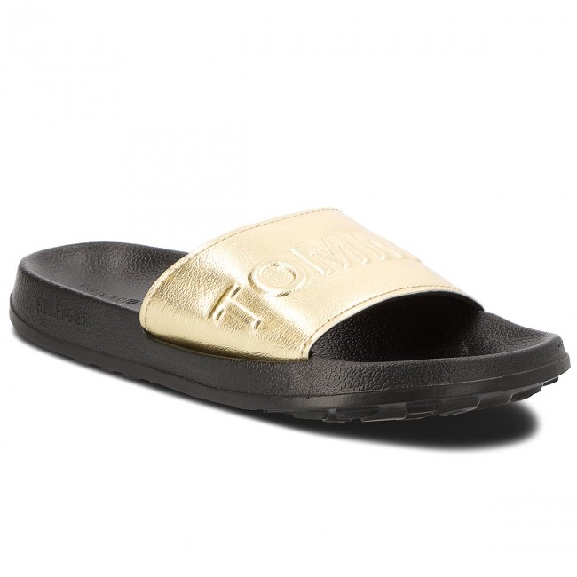 Tommy Jeans METALLIC POOL SLIDE - Mules - silver 51jX9ps