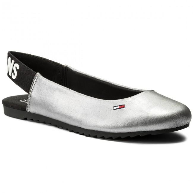 Tommy Jeans SPORTY METALLIC BACK - Slingback ballet pumps - silver Ja73r