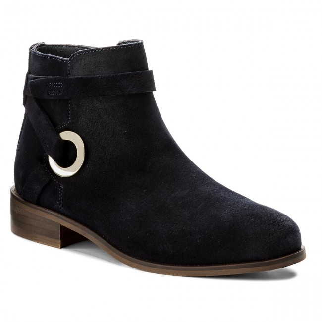 Boots TOMMY HILFIGER Flat Bootie With Eyelets FW0FW02267 Midnight 403 Brand Boots For Female