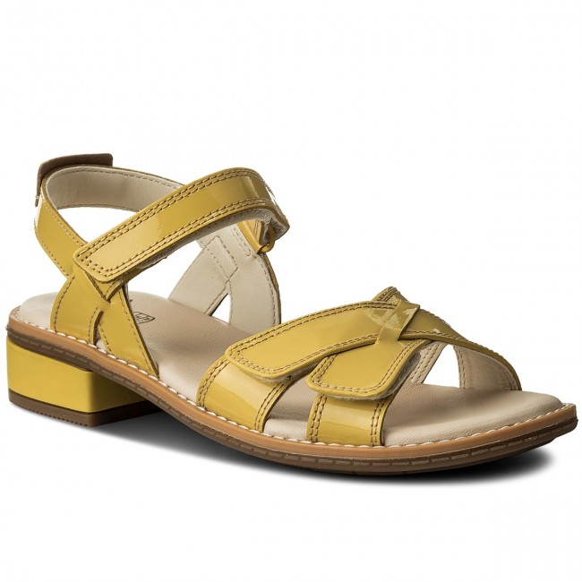 Sandals CLARKS - Darcy Charm 261329336 Yellow Patent - Sandals ...
