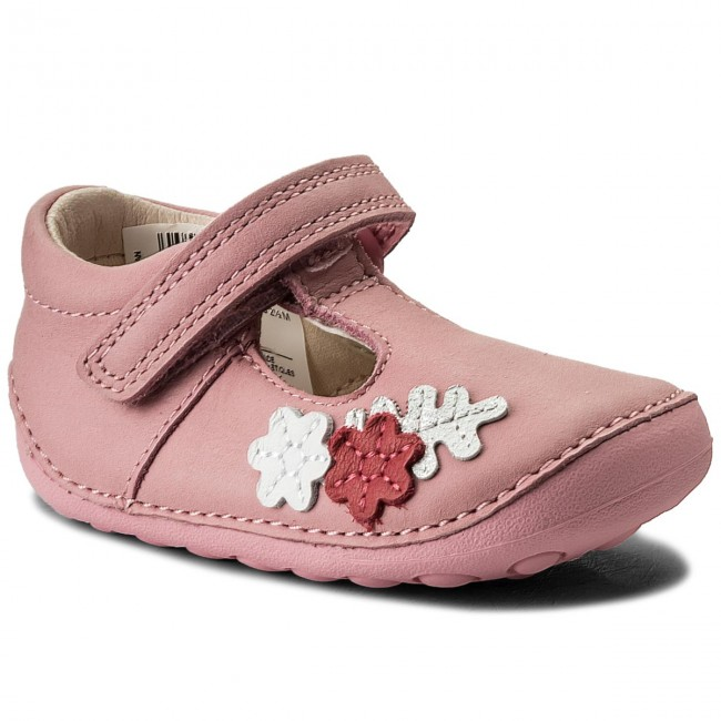 Shoes CLARKS - Tiny Blossom 261336326 Baby Pink Leather - Velcro ... 6b43ae598e17