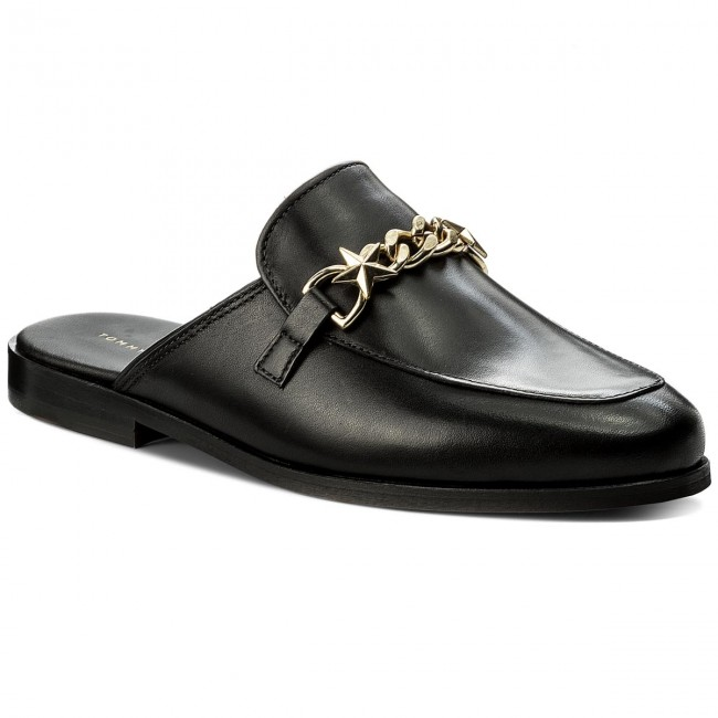 Tommy Hilfiger CHAIN DETAIL LOAFER - Slip-ons - black e87YCP85MM