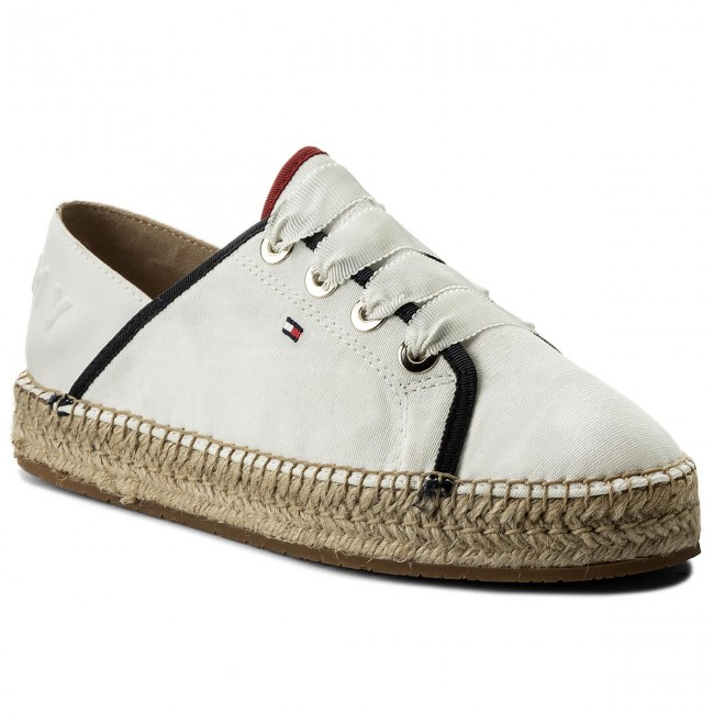 453efbcf72c24f Espadrilles TOMMY HILFIGER - Th Metallic Lace Up Espadrille FW0FW02218  Whisper White 121