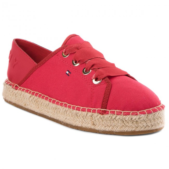 Espadrilles TOMMY HILFIGER - Th Metallic Lace Up Espadrille FW0FW02218 Tango Red 611 MnIyMOAZp4