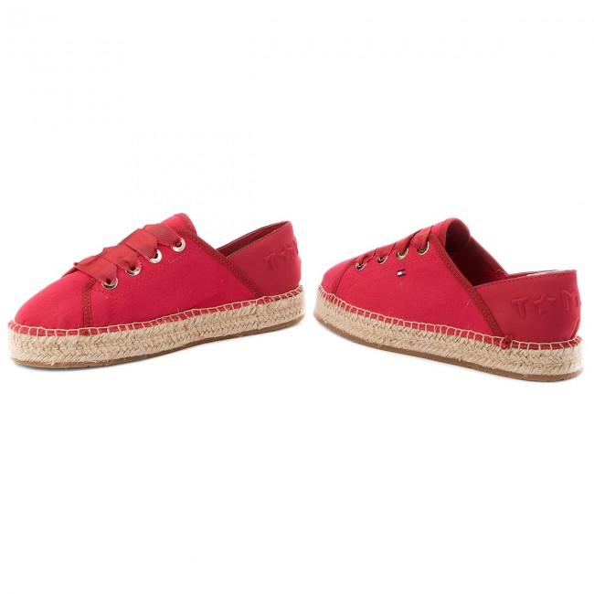 Espadrilles TOMMY HILFIGER - Th Metallic Lace Up Espadrille FW0FW02218  Tango Red 611