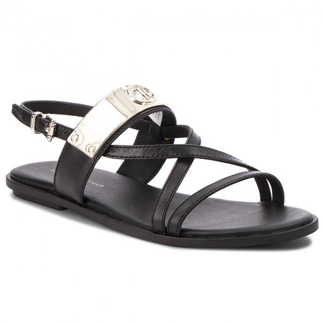 14411ffd95f9a9 Sandals TOMMY HILFIGER - Flat Sandal With Th Bar FW0FW02237 Black ...
