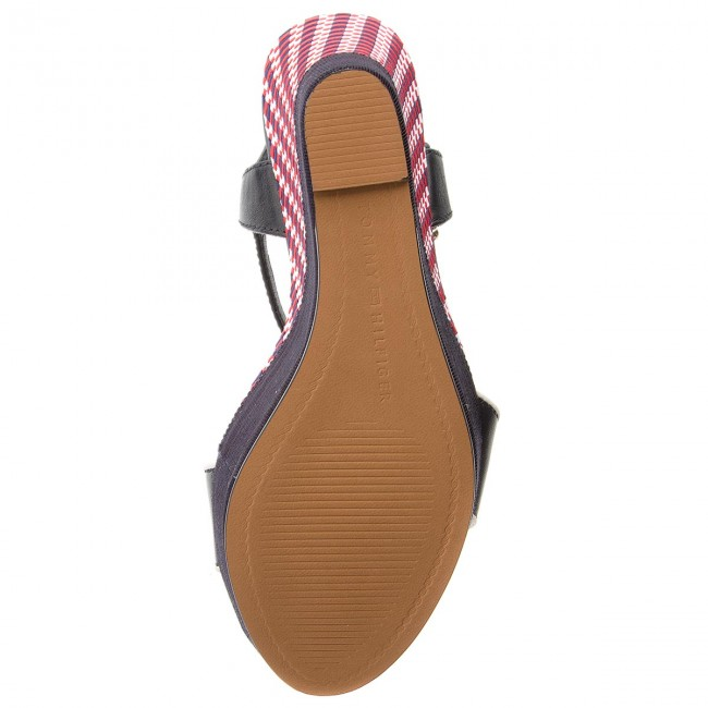 4e7763d1d670c Sandals TOMMY HILFIGER - Corporate Interwoven Wedge FW0FW02243 Tango Red  611 - Wedges - Mules and sandals - Women s shoes - www.efootwear.eu
