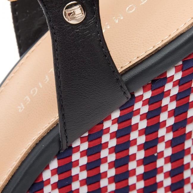 de484809e4c67 Sandals TOMMY HILFIGER - Corporate Interwoven Wedge FW0FW02243 Tango Red 611