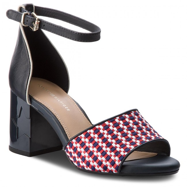 Sandals TOMMY HILFIGER - Corporate Interwoven Mid Heel FW0FW02244 Tango Red  611
