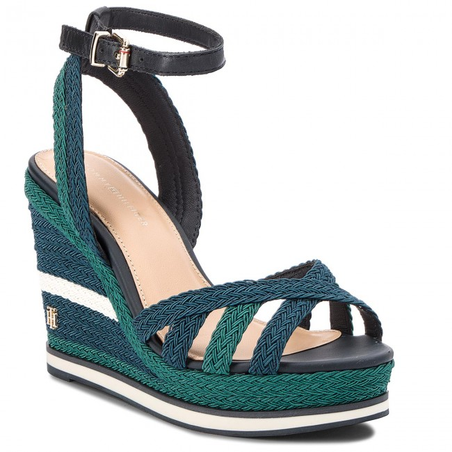 64d92a8539b04 Sandals TOMMY HILFIGER - Wedge Sandal Sporty Outsole FW0FW02251 Midnight 403