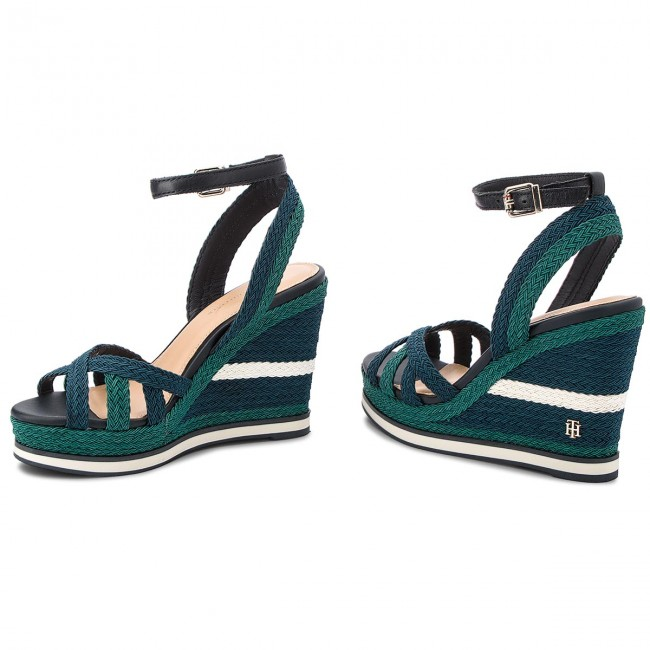 5cfe34d56 Sandals TOMMY HILFIGER - Wedge Sandal Sporty Outsole FW0FW02251 Midnight 403