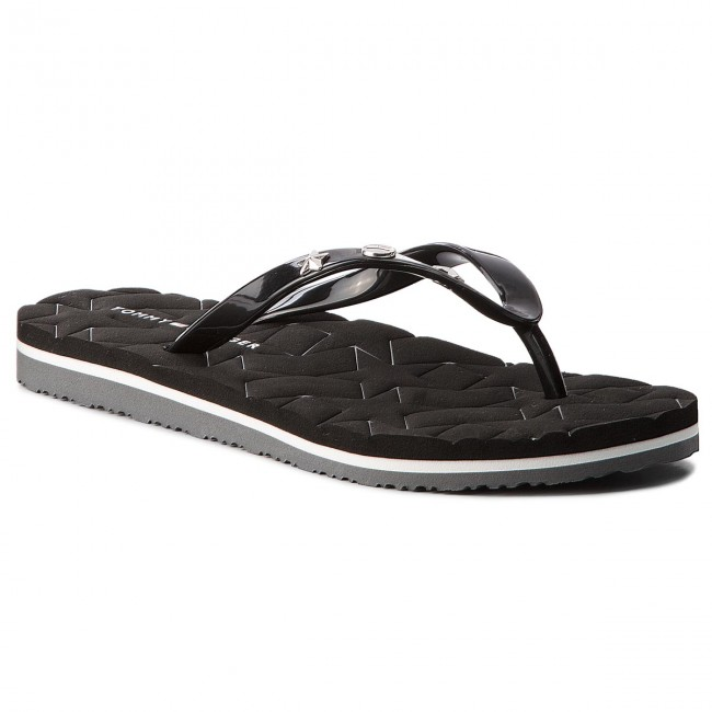 42e45bcc5c6a33 Slides TOMMY HILFIGER - Metallic Star Beach Sandal FW0FW02371 Black ...