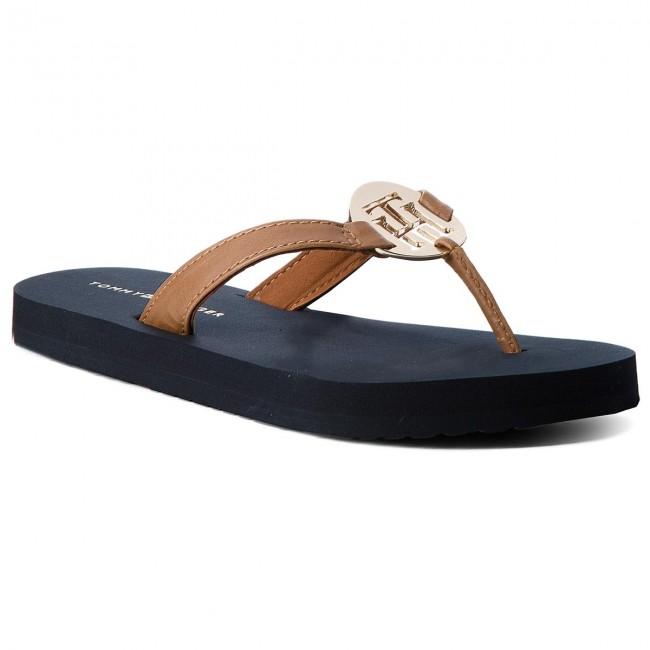Slides TOMMY HILFIGER - Metal Hardware Beach Sandal FW0FW02389 Cognac 606