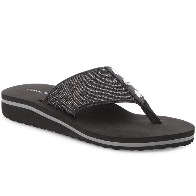 46688b454 Slides TOMMY HILFIGER - Elevated Metallic Beach Sandal FW0FW02393 Black 990