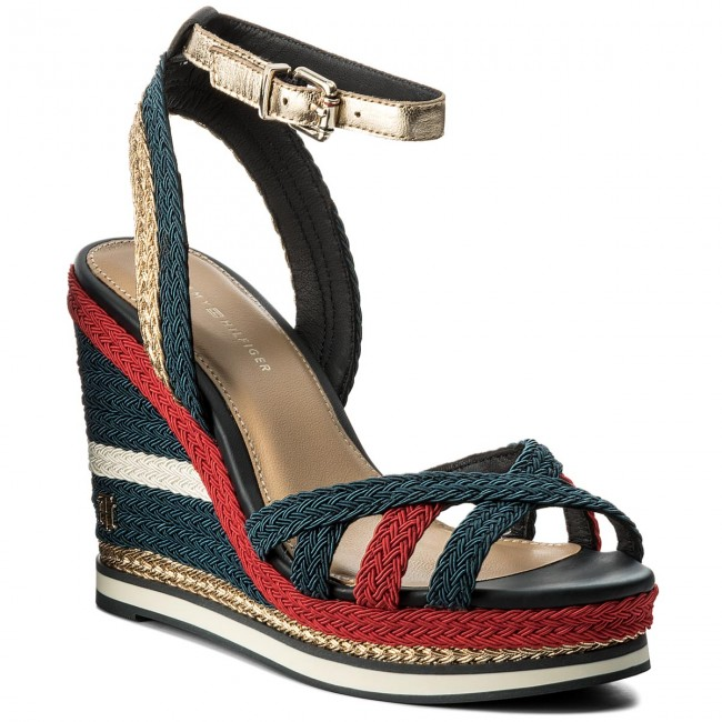ab0660e01 Sandals TOMMY HILFIGER - Corporate Wedge Sandal Sporty FW0FW02396 Rbw 020