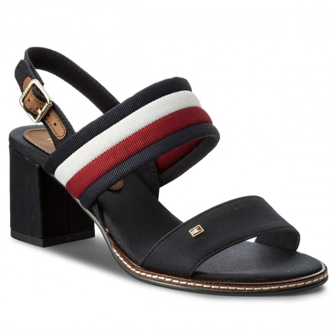 b80e6392b3cc1 Sandals TOMMY HILFIGER - Casual Mid Heel Sandal FW0FW02428 Rwb 020 ...