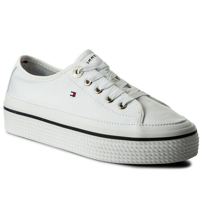 Turnschuhe TOMMY HILFIGER - Corporate Flatform Sneaker FW0FW02456 White 100 MqvbDtk3