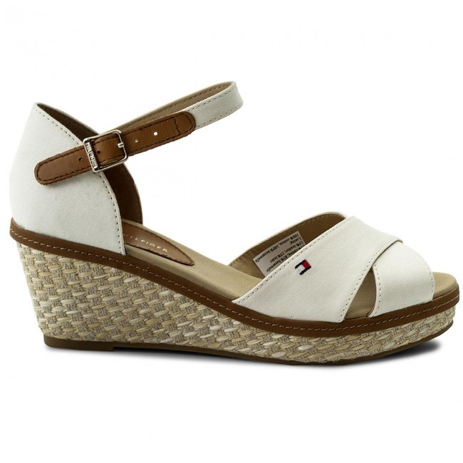 c97d1f0e3f72a Espadrilles TOMMY HILFIGER - Iconic Elba Sandal Basic FW0FW02648 Whisper  White 121 - Espadrilles - Mules and sandals - Women s shoes -  www.efootwear.eu