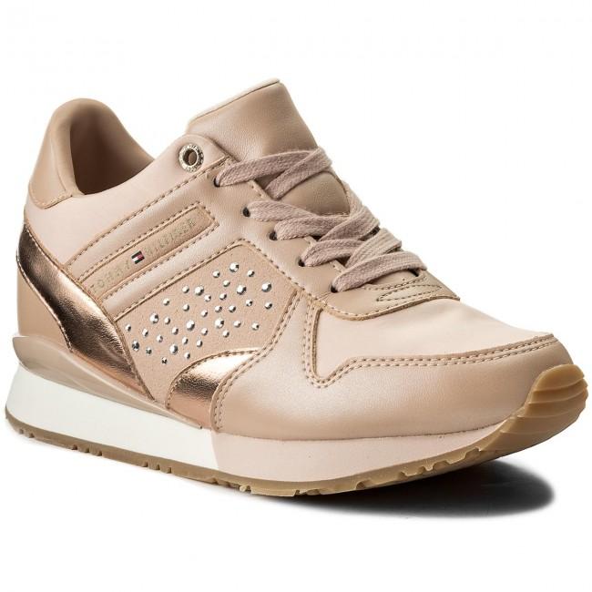 76753569b7d99f Sneakers TOMMY HILFIGER - Metallic Sneaker Wedge FW0FW02802 Dusty Rose 502