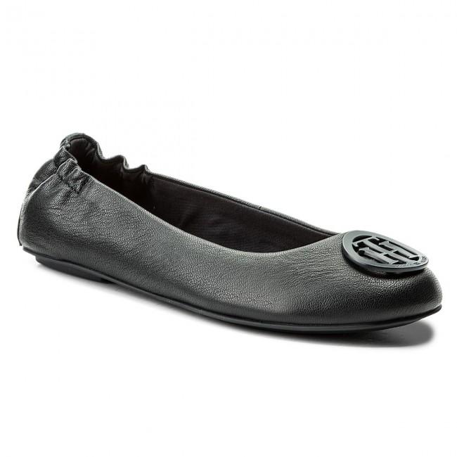 f9b9db64300cf Flats TOMMY HILFIGER - Flexible Leather Ballerina FW0FW02810 Midnight 403