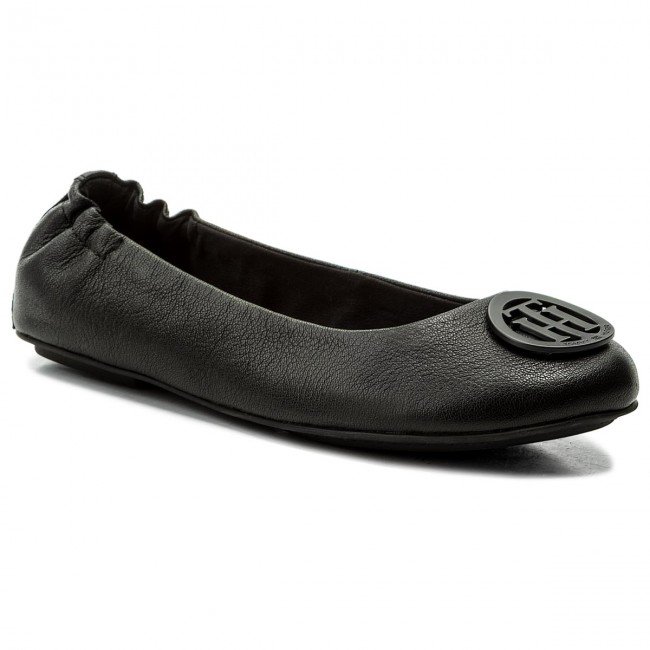 9ad1306f035e Flats TOMMY HILFIGER - Flexible Leather Ballerina FW0FW02810 Black ...