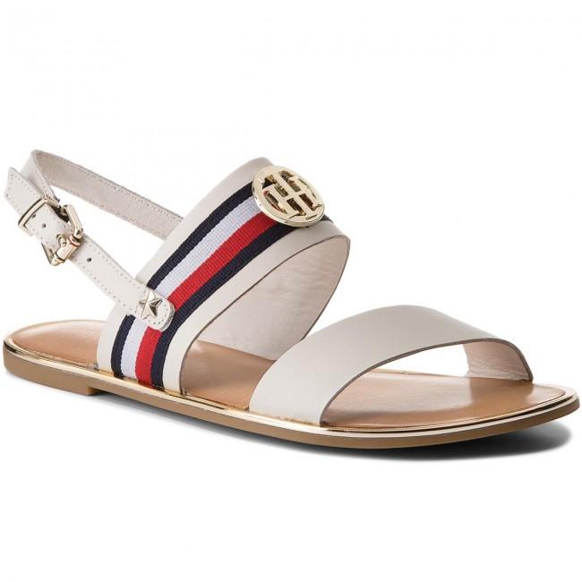 Sandalen TOMMY HILFIGER - Corporate Ribbon Flat Sandal FW0FW02811 Whisper White 121 fKV1o