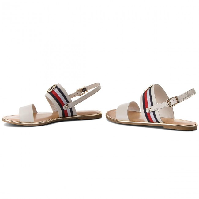 1914d4296 Sandals TOMMY HILFIGER - Corporate Ribbon Flat Sandal FW0FW02811 Whisper  White 121