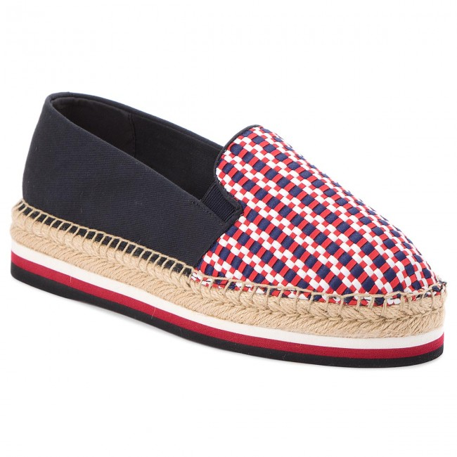 Tommy Hilfiger CORPORATE INTERWOVEN FLATFORM - Espadrilles - blue
