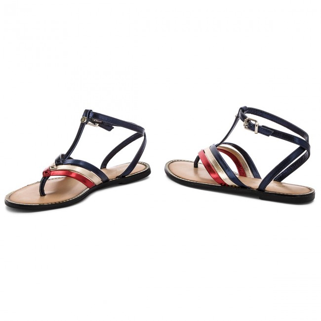 3aed1f1e4 Slides TOMMY HILFIGER - Corporate Flat T-Bar Sandal FW0FW02818 Rwb ...