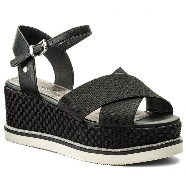 2abd515fe437c2 Sandals TOMMY HILFIGER - Sporty Stretch Flatform FW0FW02854 Black ...