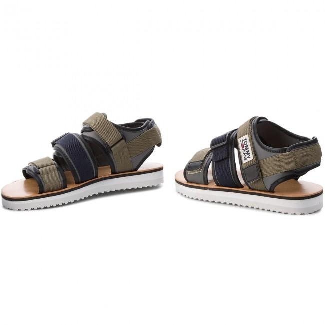 19874beaae14a2 Sandals TOMMY JEANS - Urban Tj Strap Sandal EM0EM00043 Dusty Olive ...