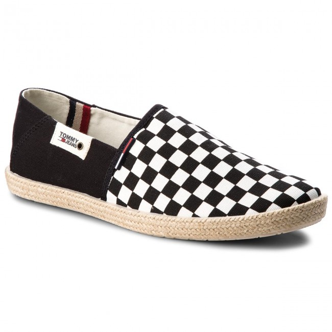 Tommy Jeans CHECK SLIP ON SHOE - Espadrilles - black/white