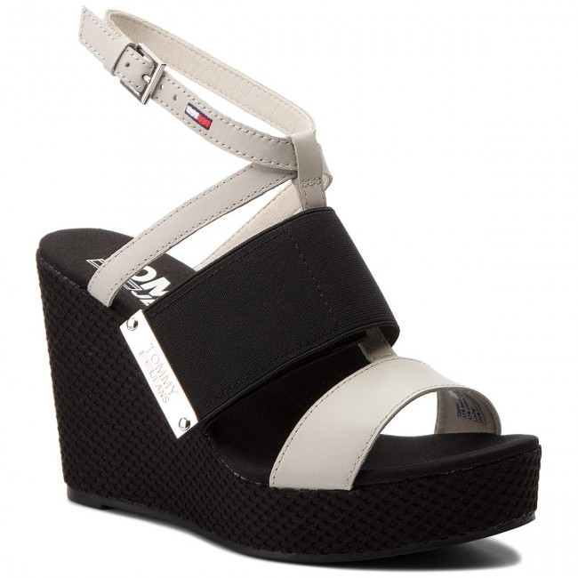 b317ca6d9f4786 Sandals TOMMY JEANS - Material Mix Wedge Sandal EN0EN00048 Off White ...