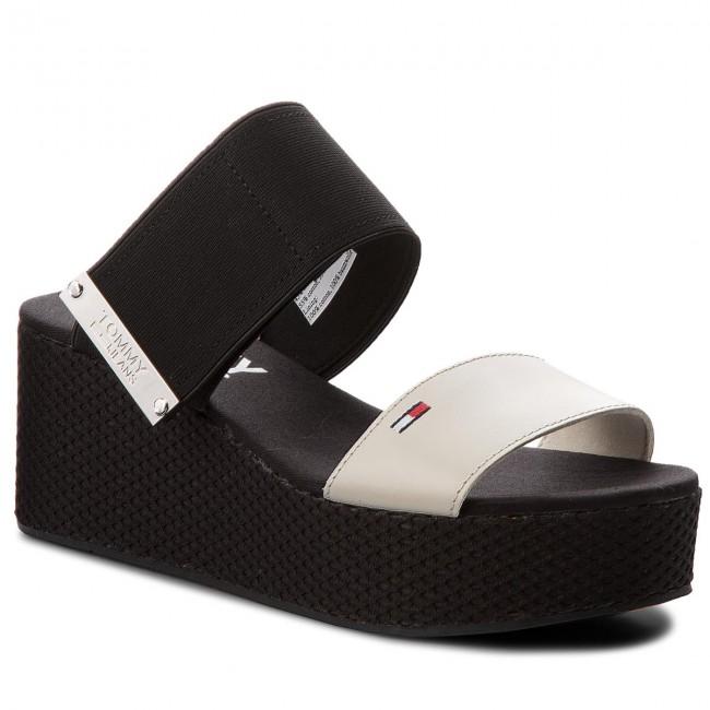 Tommy Jeans SLIDE FLATFORM - Mules - white XVP7Lt