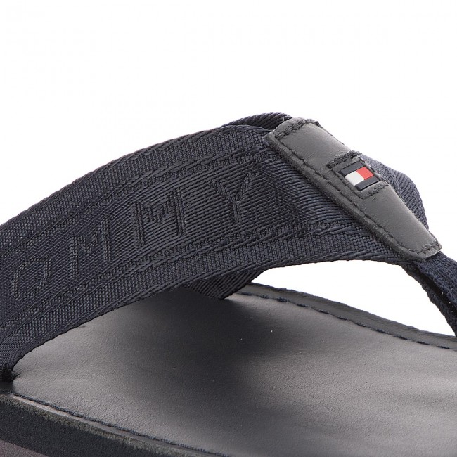 c32d4f7c471c Slides TOMMY HILFIGER - Jacquard Th Leather Beach Sandal FM0FM01365  Midnight 403