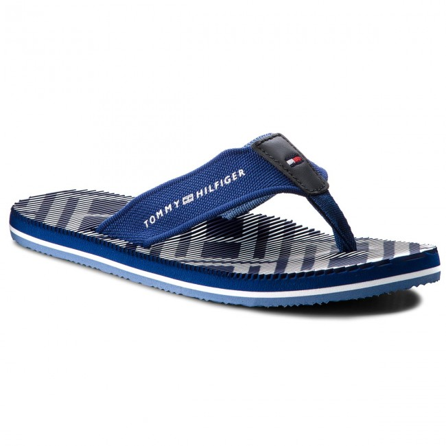 8da391c10 Slides TOMMY HILFIGER. Corporate Stripe Beach Sandal FM0FM01366 Monaco Blue  408