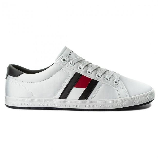 7b3ec045aa Plimsolls TOMMY HILFIGER - Essential Flag Detail Sneaker FM0FM01535 White  100 - Plimsolls - Low shoes - Men's shoes - www.efootwear.eu